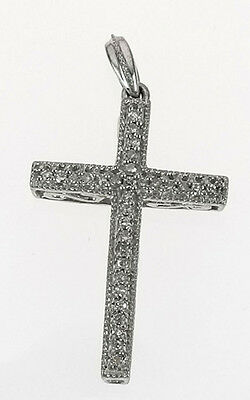 Sterling Silver 0.06 Carat Total Weight Diamond Open Scroll Cross, 1.1gr(B1032)