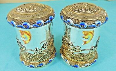 Chinese Sterling Silver Parcel Gilt Enamel Tea Caddies Boxes Fish Sea Waves 1960