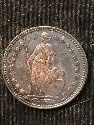 1876 Silver Switzerland Franc TONED CH UNC