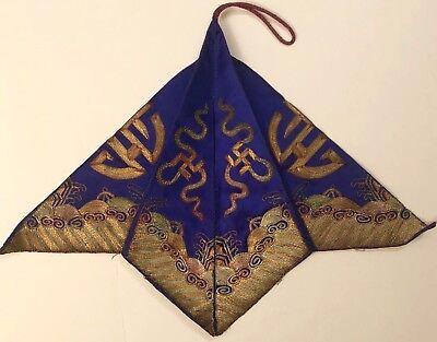 Antique Chinese Silk Embroidery Gold Threads