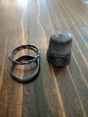 Vintage Antique Sterling Silver Thimble, 2 Rings