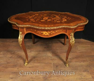 Antique French Coffee Table - Empire Shaped 1880 Marquetry Inlay