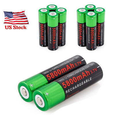 3.7V 5800mAh Rechargeable Battery 18650 Li-ion Batterise Smart Charger For Torch
