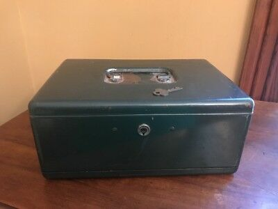 Vintage Eagle Lock Lockbox Lock Box Metal Safe W Key Money Jewelry