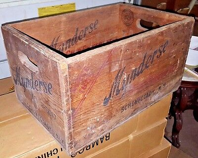 Rare 1929 MYNDERSE SCHENECTADY NY Club Ginger Ale Wooden Soda Bottle Crate Box