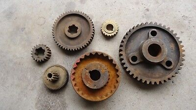 Lot Of 6 Gears 5 Steel 1 Brass Industrial Machine Steampunk Pulley Big Thick