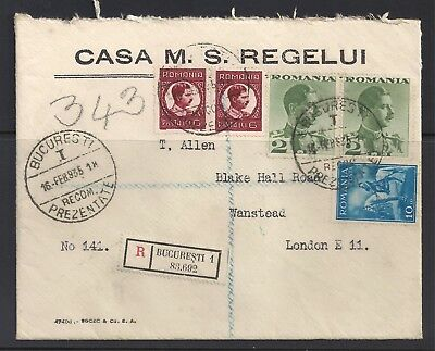 Romania 1935 Registered Cover from the King of Romania's Household