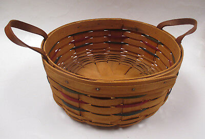 LONGABERGER BUTTON BASKET 1994 HANDWOVEN round leather handles