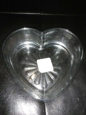 (2) Heart Shaped Glass Bowls
