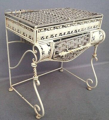 Vintage french garden console table made of iron and osier 1970-80's shabby