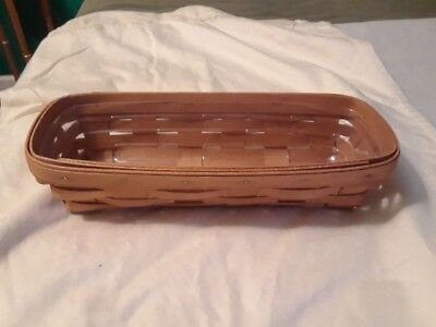 Longaberger Handwoven Basket - dated 1993 - 11 inches long w/ plastic insert