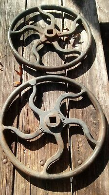 "Two Vintage Cast Iron 16"" Hand Wheel. Salvage industrial steampunk farm art"