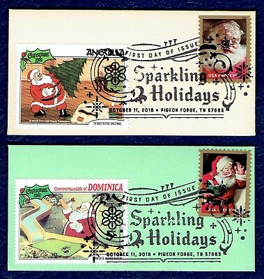 Santa Sparkling Holidays, set of 4 hand made miniature Disney First Day Covers