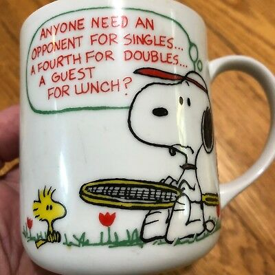 """Snoopy Tennis Mug Schulz, """"Singles Doubles or Lunch!"""" - Bottom dated 1958 &1965"""
