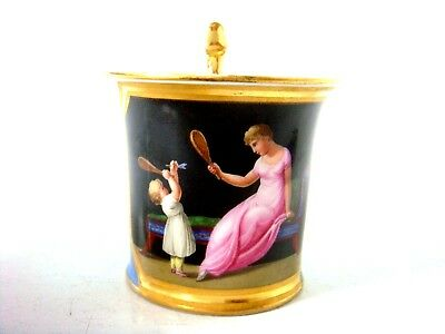 Vienna Porcelain Fine Snake Handle Cup Mother & Child Playing Sport Date 1832