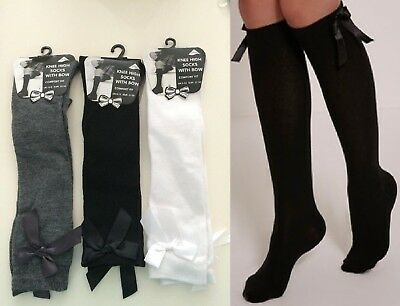 knee high long socks with bow For school Girls Children uniform black Gry white