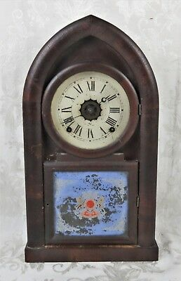 Antique 19th C. EN Welch Order of The Garter Coat of Arms Beehive Mantel Clock