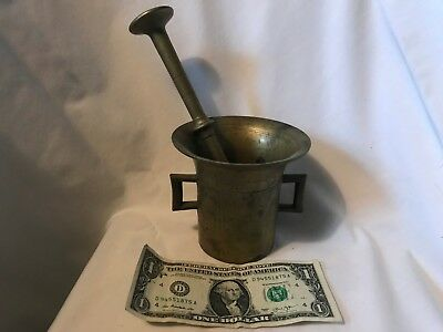 Antique Solid brass medical apothecary mortar and pestle