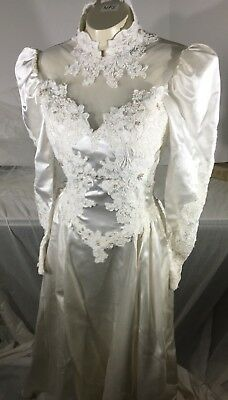 Vtg Wedding Dress Beads Lace Pearls Long Sleeve Buttons Train Bridal Gown Veil
