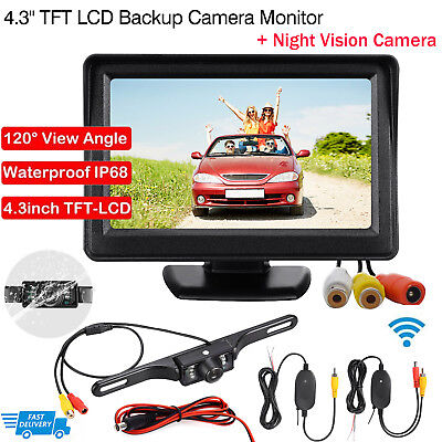 "Wireless Reverse Camera +4.3"" LCD Monitor Screen Car Rear View Backup Waterproof"
