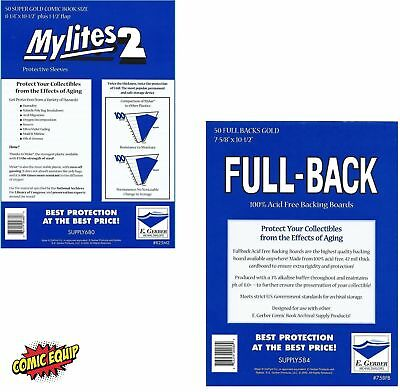 50 Mylites2 SUPER GOLD 2 mil Mylar & Full Back 42pt Boards 825M2/778FB E. Gerber