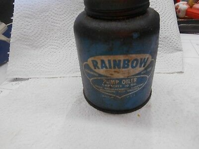 Vintage Eagle Rainbow Pump Oiler Oil Can 10 oz, capacity,usa blue
