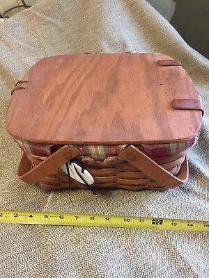 """Longaberger Basket 12""""X12"""" Pie Carrying With Protector"""