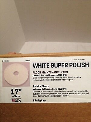 "Clean Freak 17"" White Super Polish Buffing Floor Pads 401217-3000Rpm 5 Pad Pack"