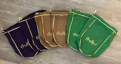 Mixed Lot Of 6 Authentic Crown Royal Bags 2 Green 2 Purple 2 Tan
