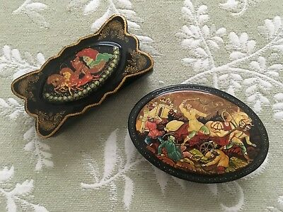 Pair Russian Hand Painted Lacquer Boxes battle scence and fairy tale sleigh