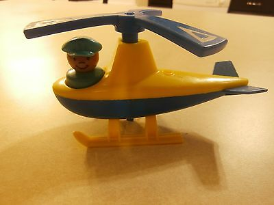 Vintage Little People Old Airport Helicopter & Tugger/Carts (Wooden People)