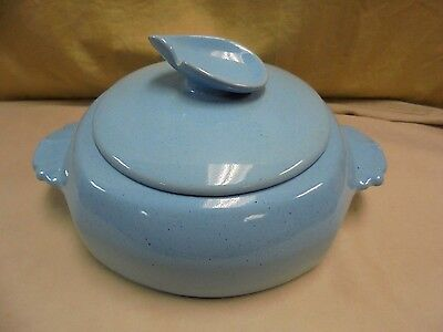 VTG Frankoma 5V Clay Pottery Robins Egg Baby Blue Casserole Covered Serving Dish