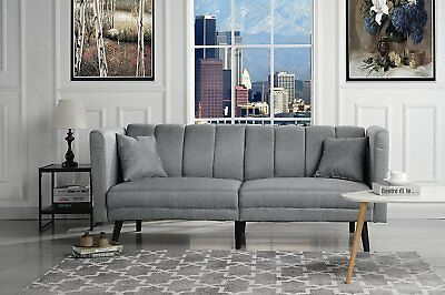 Magnificent Mid Century Modern Tufted Linen Living Room Sleeper Futon Squirreltailoven Fun Painted Chair Ideas Images Squirreltailovenorg