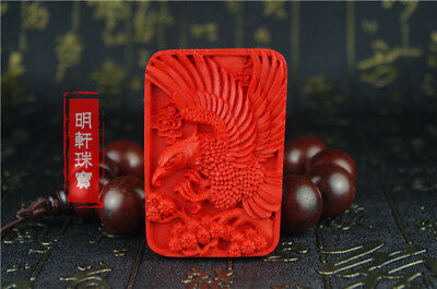 Natural Red Cinnabar Carving Lacquer Chinese Eagle Pendant For Necklace