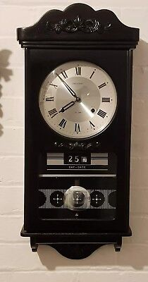 President 31 Day Chiming Pendulum Wall Clock + Day Date Black Gothic Style Gwo