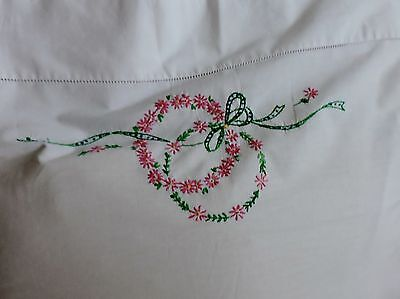 Vintage Pillow case with floral embroidery