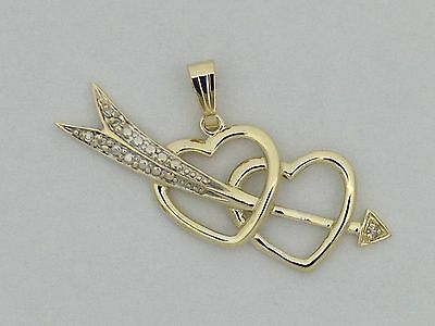 Natural Diamond Heart Necklace Solid 10kt Yellow Gold