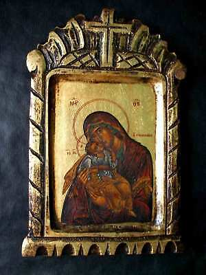 """Antique icon """"Mother of God with Jesus Christ"""", 19th century"""