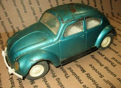 Vtg 1960s Pressed Steel Tonka 52680 Volkswagen VW Beetle Bug Toy Car Green