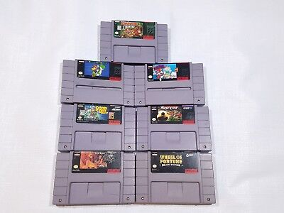 Snes Super Nintendo Game Lot with super Mario donkey 7 games NOT TESTED