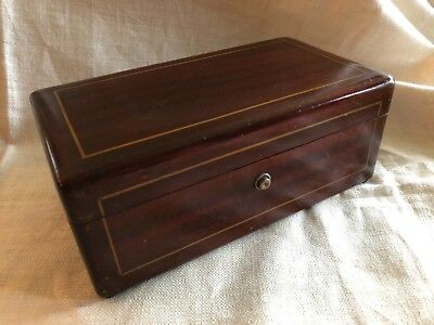 Antique  Vintage Oak wood Jewelry Storage Box with secure lock