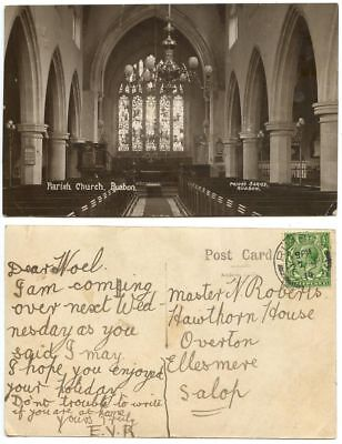 Great Britain 1914 RPPC Parish Church, Ruabon Wales to Overton Salop, Sc 159 KGV