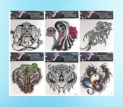 Tramp Stamp 6 Sheets Skull Spider Tiger Giant Size 9x9 Temporary