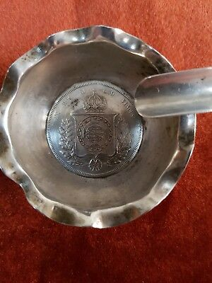 Antique Sterling Silver .95 Brazilian 1000 Reis 1853 Coin Set Ashtray