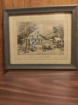 Vintage Antique Currier And Ives Style Early 19rh Cent. CLEAN Art Hand Colored