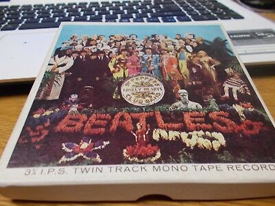 THE BEATLES ST PEPPERS  MONO 3 3/4 IPS twin track mono reel to reel tape