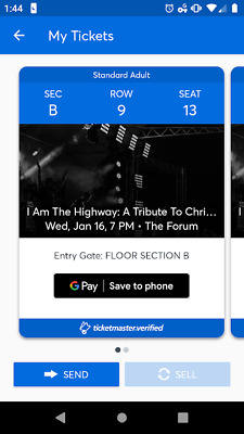 """2  Chris Cornell """"I am the Highway""""  Tribute Concert Tickets Floor B ROW 9"""