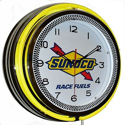 "19"" Sunoco Race Fuels Yellow Double Neon Clock Garage Man Cave Decor"