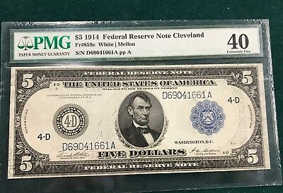 1914 $5 Federal Reserve note FR#859C PMG 40
