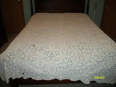 Antique Full Size White Crocheted Bed Spread
